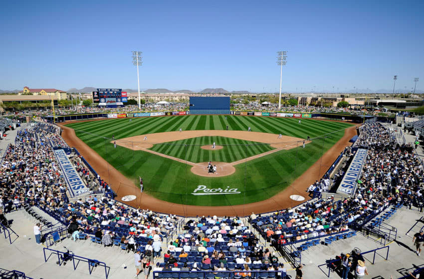PEORIA, AZ - MARCH 13: A general view of the San Diego Padres take on the Cleveland Indians during the spring training baseball game at Peoria Stadium on March 13, 2011 in Peoria, Arizona. (Photo by Kevork Djansezian/Getty Images)