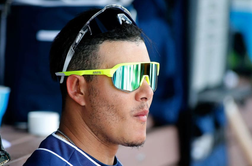 PEORIA, AZ - MARCH 20: Manny Machado #13 of the San Diego Padres during an MLB spring training game against the Milwaukee Brewers at Peoria Stadium on March 20, 2019 in Peoria, Arizona. (Photo by Ralph Freso/Getty Images)