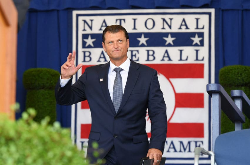 COOPERSTOWN, NY - JULY 29: Inductee Trevor Hoffman is introduced during the Baseball Hall of Fame induction ceremony at the Clark Sports Center on July 29, 2018 in Cooperstown, New York. (Photo by Mark Cunningham/MLB Photos via Getty Images)