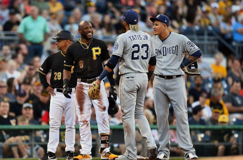 Starling Marte, Fernando Tatis Jr., Manny Machado Pittsburgh Pirates San Diego Padres (Photo by Joe Sargent/Getty Images)