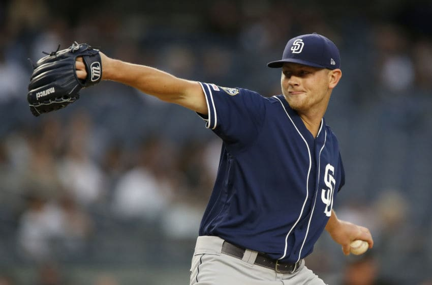NEW YORK, NEW YORK - MAY 28: Eric Lauer #46 of the San Diego Padres delivers a pitch during the second inning against the New York Yankees at Yankee Stadium on May 28, 2019 in New York City. (Photo by Jim McIsaac/Getty Images)