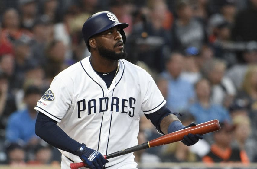 SAN DIEGO, CA - JULY 02: Franmil Reyes #32 of the San Diego Padres hits a solo home run during the second inning of a baseball game against the San Francisco Giants at Petco Park July 2, 2019 in San Diego, California. (Photo by Denis Poroy/Getty Images)