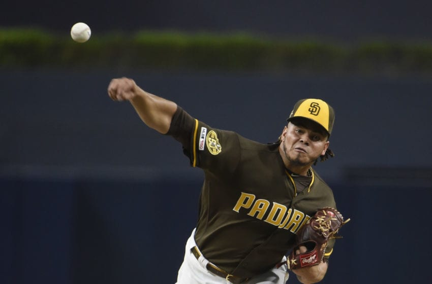 SAN DIEGO, CA - SEPTEMBER 6: Dinelson Lamet #29 of the San Diego Padres pitches during the first inning of a baseball game against the Colorado Rockies at Petco Park September 6, 2019 in San Diego, California. (Photo by Denis Poroy/Getty Images)