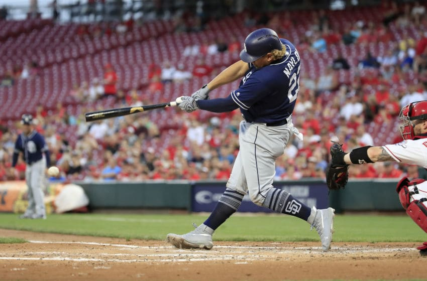 CINCINNATI, OHIO - AUGUST 20: Josh Naylor #22 of the San Diego Padres hits the ball against the Cincinnati Reds at Great American Ball Park on August 20, 2019 in Cincinnati, Ohio. (Photo by Andy Lyons/Getty Images)
