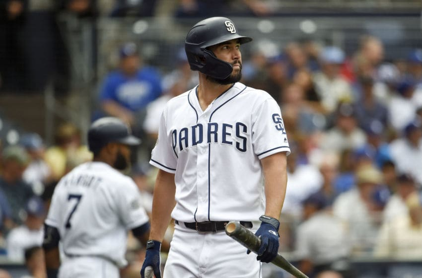 SAN DIEGO, CA - SEPTEMBER 26: Eric Hosmer #30 of the San Diego Padres walks back to the dugout after striking out during the the eighth inning of a baseball game against the Los Angeles Dodgers at Petco Park September 26, 2019 in San Diego, California. (Photo by Denis Poroy/Getty Images)