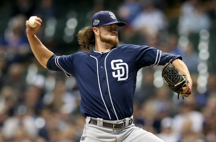 MILWAUKEE, WISCONSIN - SEPTEMBER 17: Chris Paddack #59 of the San Diego Padres pitches in the third inning against the Milwaukee Brewers at Miller Park on September 17, 2019 in Milwaukee, Wisconsin. (Photo by Dylan Buell/Getty Images)