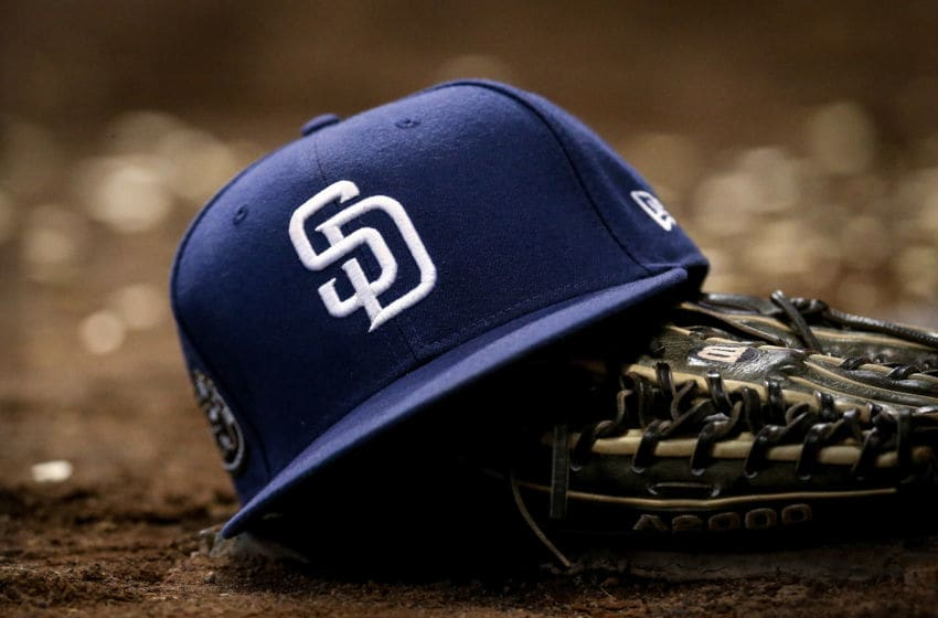 MILWAUKEE, WISCONSIN - SEPTEMBER 17: A detail view of a San Diego Padres hat during the game between the San Diego Padres and Milwaukee Brewers at Miller Park on September 17, 2019 in Milwaukee, Wisconsin. (Photo by Dylan Buell/Getty Images)