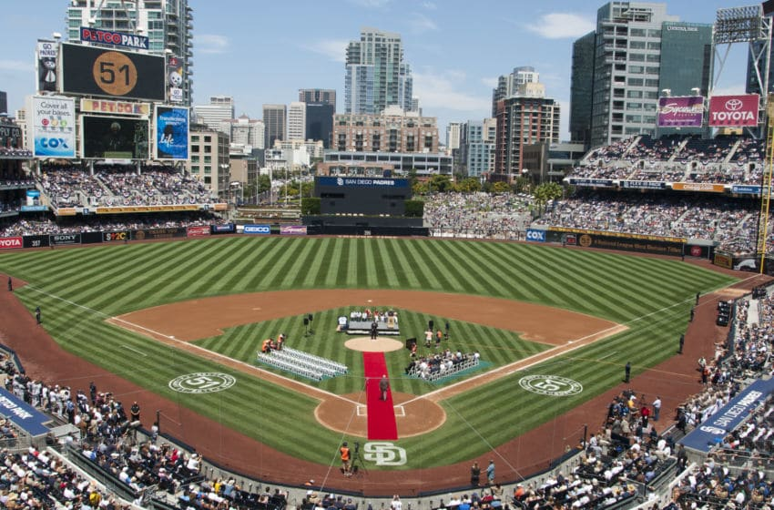 SAN DIEGO, CA - AUGUST 21: MLB All-Time saves (601) leader Trevor Hoffman stands on the mound as he is honored in a jersey retirement ceremony held by the San Diego Padres prior to the game against the Florida Marlins at Petco Park on August 21, 2011 in San Diego, California. (Photo by Kent C. Horner/Getty Images)