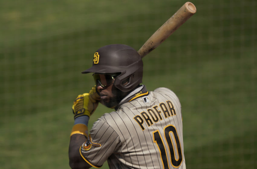 OAKLAND, CALIFORNIA - SEPTEMBER 06: Jurickson Profar #10 of the San Diego Padres warms up in the on-deck circle against the Oakland Athletics in the top of the six inning at RingCentral Coliseum on September 06, 2020 in Oakland, California. (Photo by Thearon W. Henderson/Getty Images)