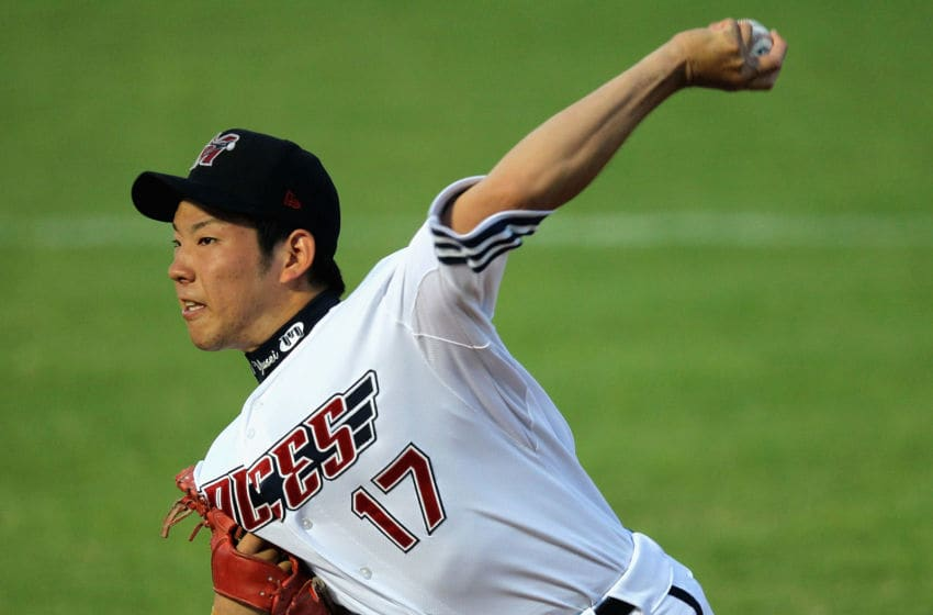 MELBOURNE, AUSTRALIA - NOVEMBER 17: Yusei Kikuchi pitcher for the Aces in action during the Australian Baseball League match between the Melbourne Aces and the Brisbane Bandits at Melbourne Showgrounds on November 17, 2011 in Melbourne, Australia. (Photo by Hamish Blair/Getty Images)
