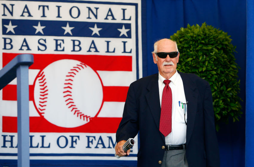 COOPERSTOWN, NY - JULY 24: Hall of Famer Gaylord Perry is introduced at Clark Sports Center during the Baseball Hall of Fame induction ceremony on July 24, 2016 in Cooperstown, New York. (Photo by Jim McIsaac/Getty Images)