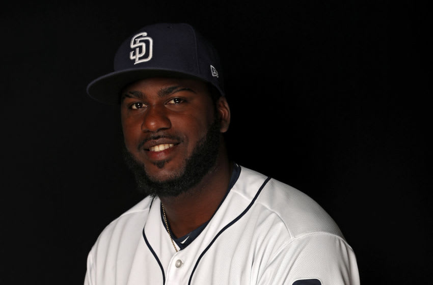 PEORIA, AZ - FEBRUARY 21: Franmil Reyes #86 of the San Diego Padres poses on photo day during MLB Spring Training at Peoria Sports Complex on February 21, 2018 in Peoria, Arizona. (Photo by Patrick Smith/Getty Images)