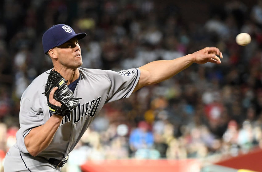 PHOENIX, AZ - APRIL 21: Clayton Richard #3 of the San Diego Padres delivers a pitch during the first inning of the MLB game against the Arizona Diamondbacks at Chase Field on April 21, 2018 in Phoenix, Arizona. (Photo by Jennifer Stewart/Getty Images)