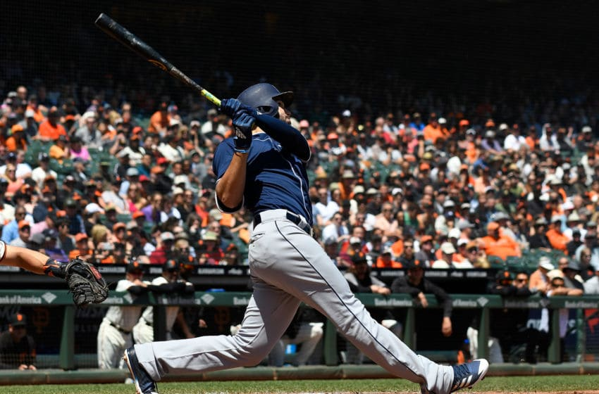 SAN FRANCISCO, CA - MAY 02: Eric Hosmer #30 of the San Diego Padres hits a two-run rbi double off the wall in right field against the San Francisco Giants in the top of the third inning at AT&T Park on May 2, 2018 in San Francisco, California. (Photo by Thearon W. Henderson/Getty Images)
