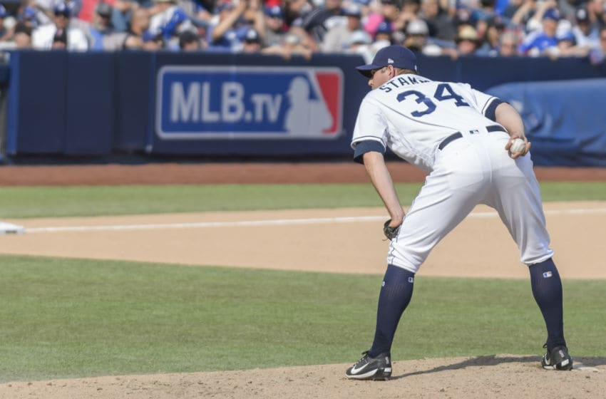 MONTERREY, MEXICO - MAY 06: Relief pitcher Craig Stammen #34 of San Diego Padres prepares to pitch in the sixth inning during the MLB game against the Los Angeles Dodgers at Estadio de Beisbol Monterrey on May 6, 2018 in Monterrey, Mexico. Padres defeated Dodgers 3-0. (Photo by Azael Rodriguez/Getty Images)