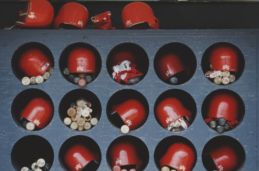 A general view of the bat and helmet storage rack for the St. Louis Cardinals during their Major League Baseball National League West game against the San Diego Padres on 11 May 1997 at Qualcomm Stadium, San Diego, California, United States. (Photo by Jason Wise/Allsport/Getty Images)