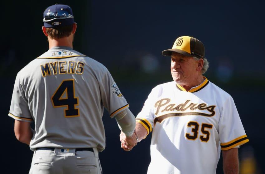 SAN DIEGO, CA - JULY 12: Former San Diego Padre Randy Jones (R) greets Wil Myers