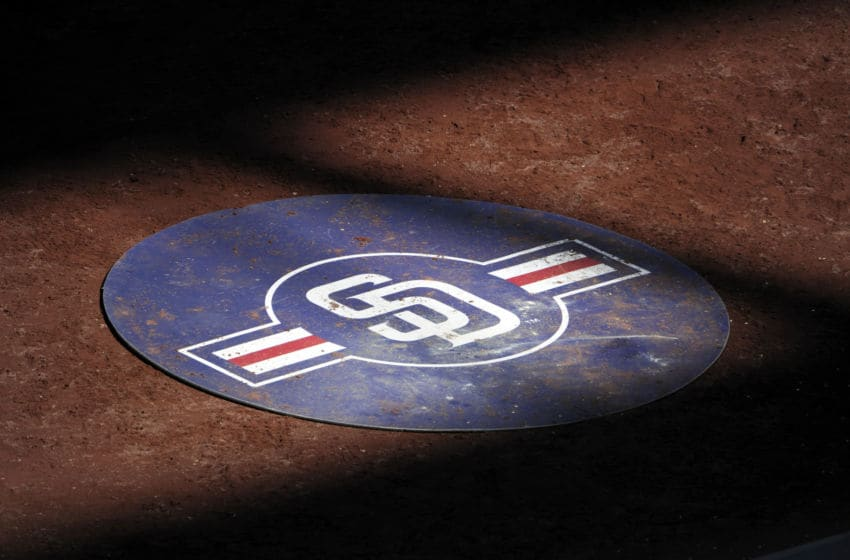 SAN DIEGO, CA - SEPTEMBER 30: A San Diego Padres logo sits on the field during a baseball game between the San Diego Padres and the San Francisco Giants at Petco Park on September 30, 2012 in San Diego, California. (Photo by Denis Poroy/Getty Images)