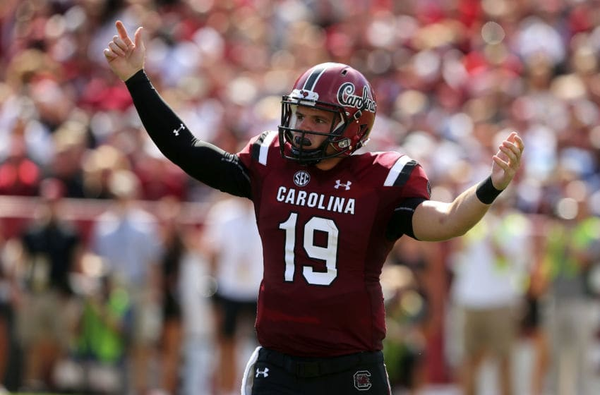 COLUMBIA, SC - SEPTEMBER 08: Jake Bentley #19 of the South Carolina Gamecocks reacts after a play against the Georgia Bulldogs during their game at Williams-Brice Stadium on September 8, 2018 in Columbia, South Carolina. (Photo by Tyler Lecka/Getty Images)