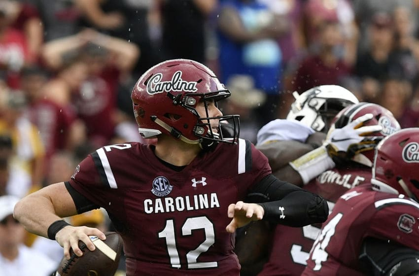 COLUMBIA, SC - OCTOBER 06: Quarterback Michael Scarnecchia #12 of the South Carolina Gamecocks attempts a pass against the Missouri Tigers during the football game at Williams-Brice Stadium on October 6, 2018 in Columbia, South Carolina. (Photo by Mike Comer/Getty Images)