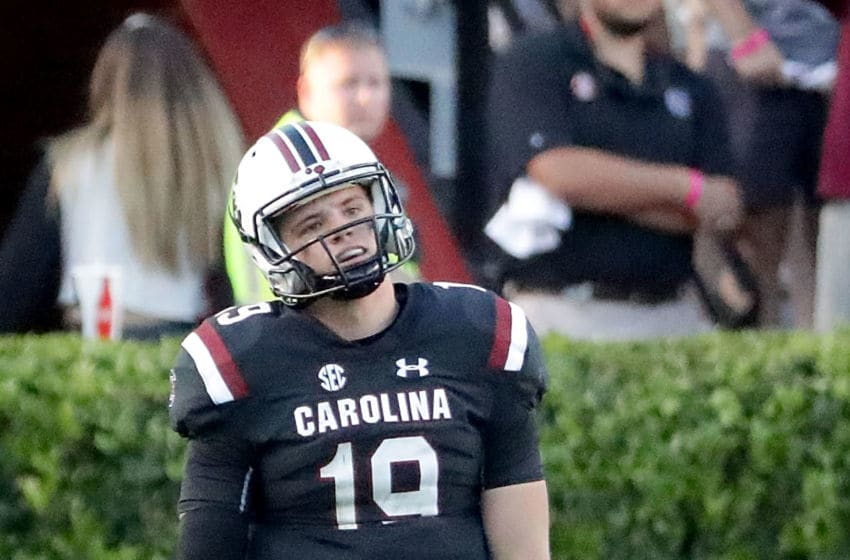 COLUMBIA, SC - OCTOBER 13: Jake Bentley #19 of the South Carolina Gamecocks reacts after a play against the Texas A&M Aggies during their game at Williams-Brice Stadium on October 13, 2018 in Columbia, South Carolina. (Photo by Streeter Lecka/Getty Images)