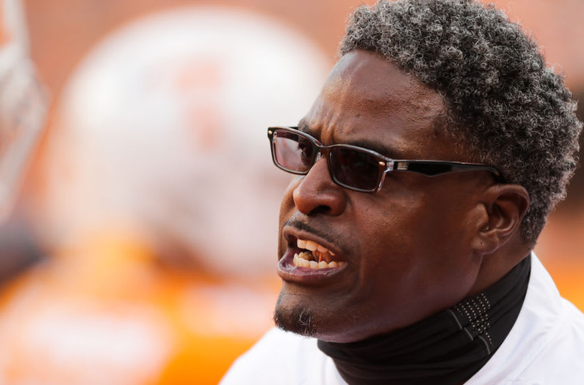 KNOXVILLE, TN - NOVEMBER 3: Tracy Rocker yells during the game between the Charlotte 49ers and the Tennessee Volunteers at Neyland Stadium on November 3, 2018 in Knoxville, Tennessee. Tennessee won the game 14-3. (Photo by Donald Page/Getty Images)