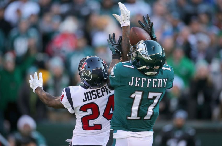 PHILADELPHIA, PA - DECEMBER 23: Cornerback Johnathan Joseph #24 of the Houston Texans breaks up a pass against wide receiver Alshon Jeffery #17 of the Philadelphia Eagles in the first quarter at Lincoln Financial Field on December 23, 2018 in Philadelphia, Pennsylvania. (Photo by Brett Carlsen/Getty Images)