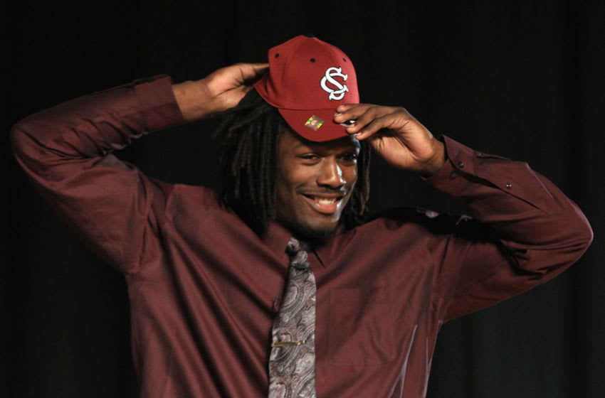 ROCK HILL, SC - FEBRUARY 14: Jadeveon Clowney announces his college football commitment to the University of South Carolina Gamecocks during a press conference at South Pointe High School on February 14, 2011 in Rock Hill, South Carolina. (Photo by Streeter Lecka/Getty Images)