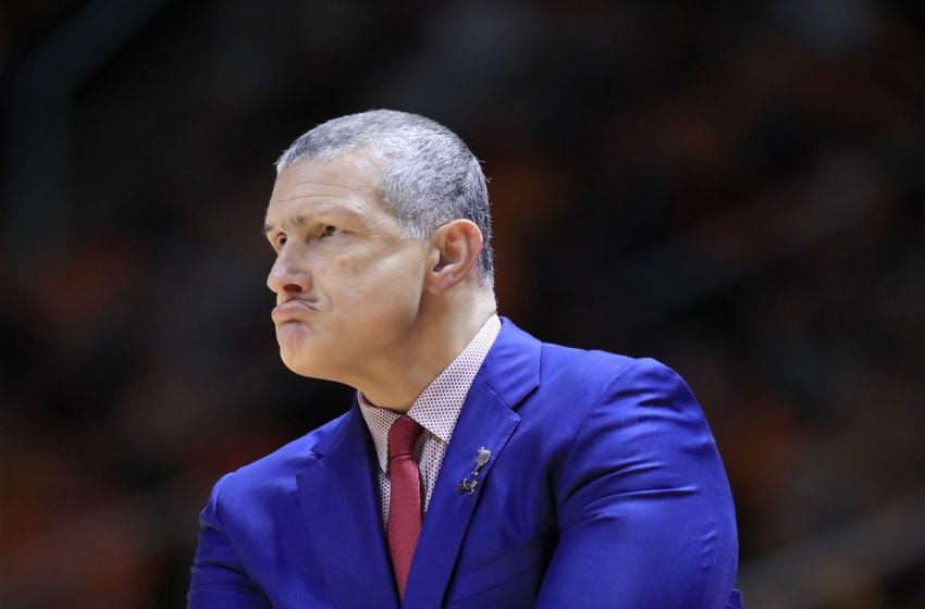 KNOXVILLE, TENNESSEE - FEBRUARY 13: Frank Martin the head coach of the South Carolina Gamecocks gives instructions to his team against the Tennessee Volunteers at Thompson-Boling Arena on February 13, 2019 in Knoxville, Tennessee. (Photo by Andy Lyons/Getty Images)