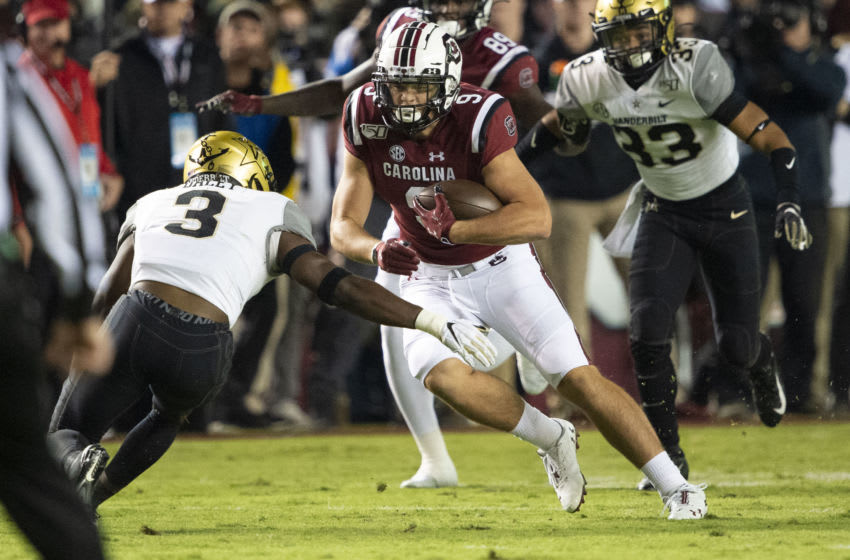 Tight end Nick Muse #9 of the South Carolina Gamecocks. (Photo by Michael Chang/Getty Images)