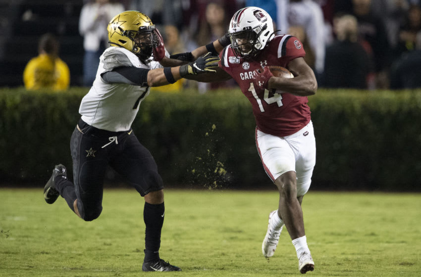 Running back Deshaun Fenwick #14 of the South Carolina Gamecocks. (Photo by Michael Chang/Getty Images)