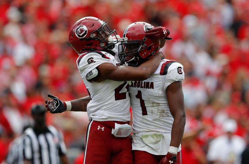 Israel Mukuamu #24 and Jaycee Horn #1of the South Carolina Gamecocks. (Photo by Kevin C. Cox/Getty Images)