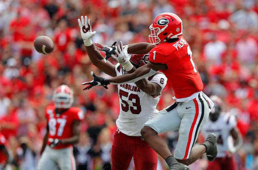 George Pickens #1 of the Georgia Bulldogs battles Ernest Jones #53 of the South Carolina Gamecocks. (Photo by Kevin C. Cox/Getty Images)
