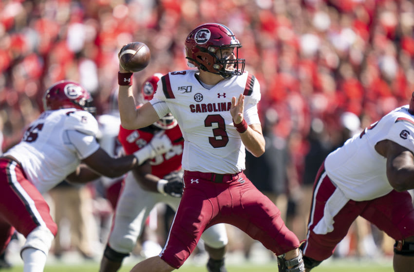 Ryan Hilinski #3 of the South Carolina Gamecocks. (Photo by Steve Limentani/ISI Photos/Getty Images).
