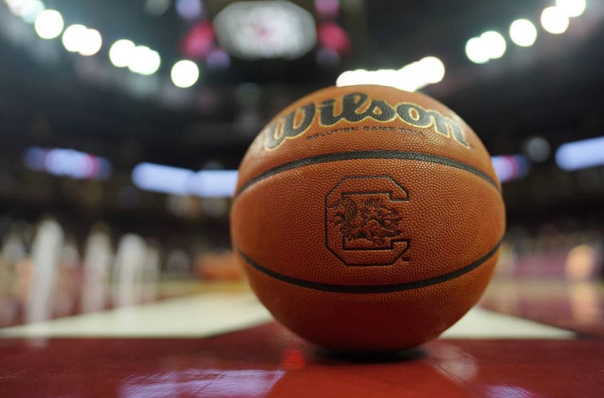 A basketball with the South Carolina Gamecocks logo. (Photo by Jacob Kupferman/Getty Images)