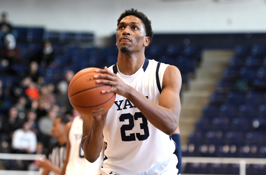 WASHINGTON, DC - JANUARY 20: Jordan Bruner #23 of the Yale Bulldogs takes a foul shot during a college basketball game against the against the Howard Bison at Burr Gymnasium on January 20, 2020 in Washington, DC. (Photo by Mitchell Layton/Getty Images)