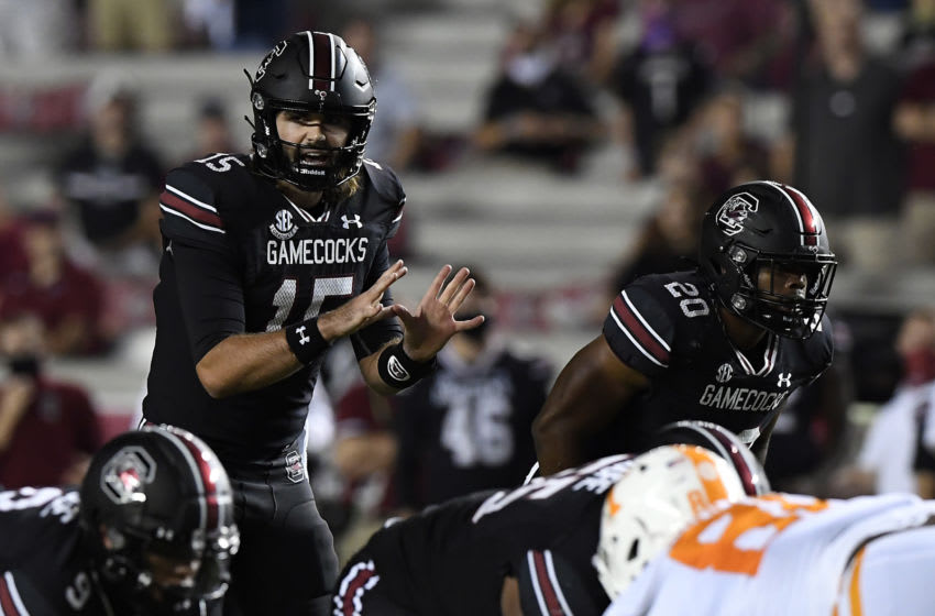 Quarterback Collin Hill #15 of the South Carolina Gamecocks. (Photo by Mike Comer/Getty Images)