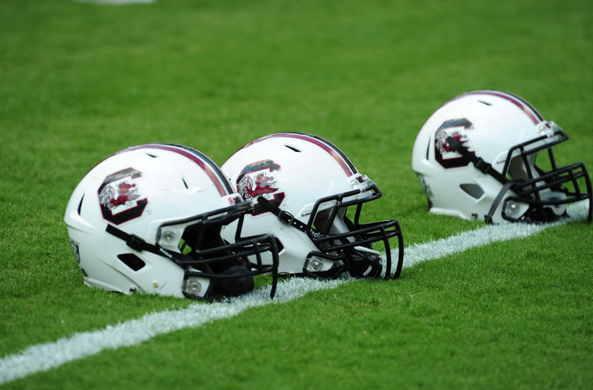 Helmets of the South Carolina Gamecocks. (Photo by Scott Cunningham/Getty Images)
