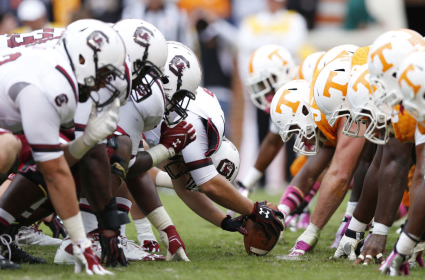 South Carolina Gamecocks face off at the line of scrimmage. (Photo by Joe Robbins/Getty Images)