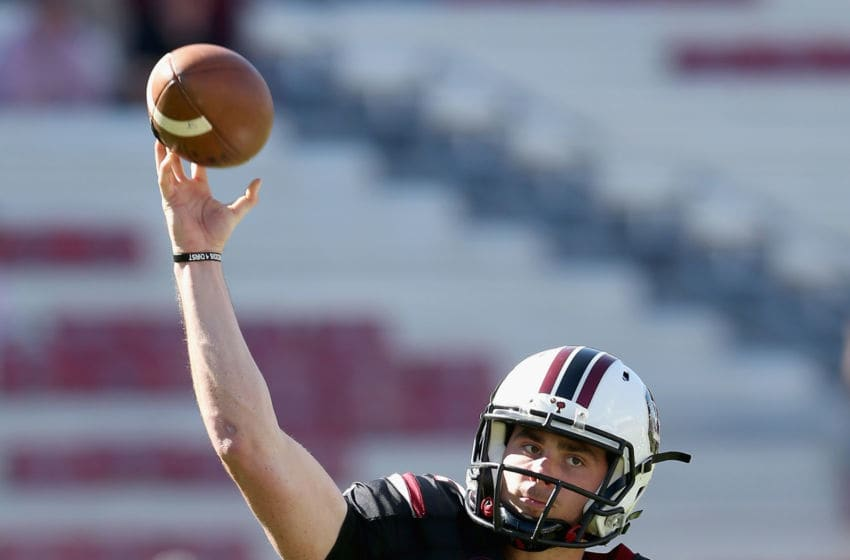 COLUMBIA, SC - OCTOBER 17: Michael Scarnecchia #12 of the South Carolina Gamecocks warms up prior to their game against the Vanderbilt Commodores at Williams-Brice Stadium on October 17, 2015 in Columbia, South Carolina. (Photo by Streeter Lecka/Getty Images)