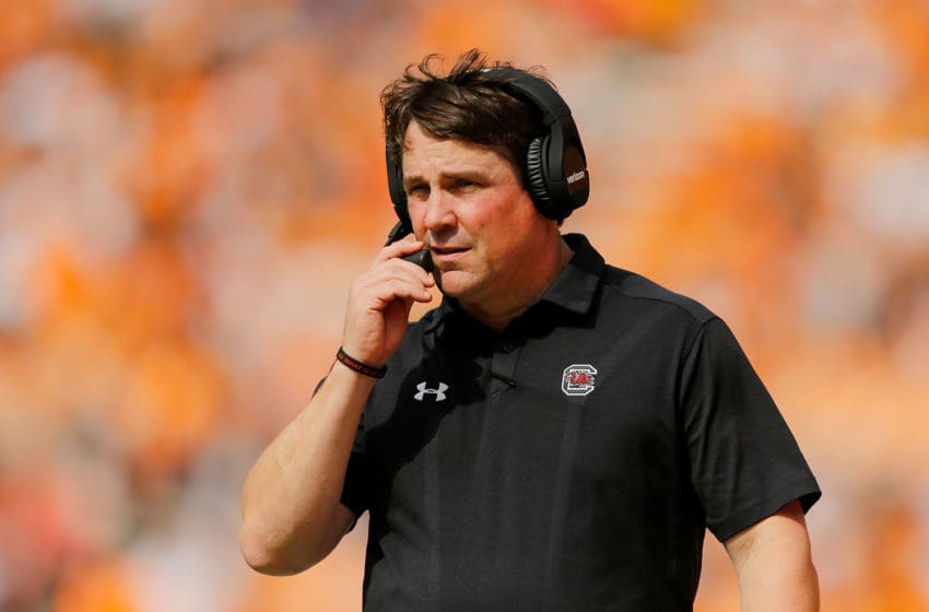 KNOXVILLE, TN - OCTOBER 14: Head coach Will Muschamp of the South Carolina Gamecocks looks on against the Tennessee Volunteers during the first half at Neyland Stadium on October 14, 2017 in Knoxville, Tennessee. (Photo by Michael Reaves/Getty Images)
