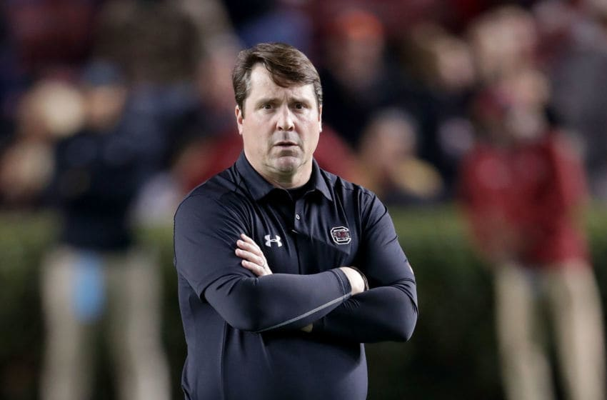 COLUMBIA, SC - NOVEMBER 25: Head coach Will Muschamp of the South Carolina Gamecocks watches on ahead of their game against the Clemson Tigers at Williams-Brice Stadium on November 25, 2017 in Columbia, South Carolina. (Photo by Streeter Lecka/Getty Images)