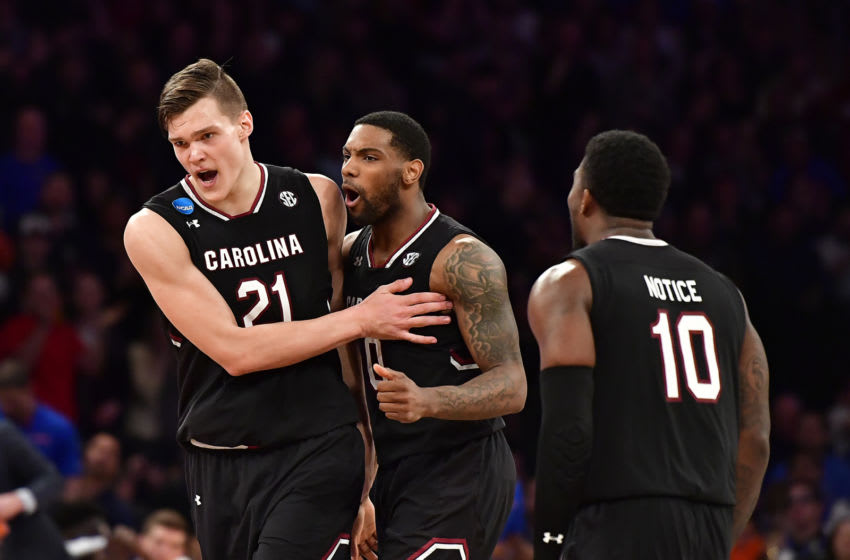 The South Carolina Gamecocks celebrate during the 2017 NCAA Tournament. (Photo by Steven Ryan/Getty Images)