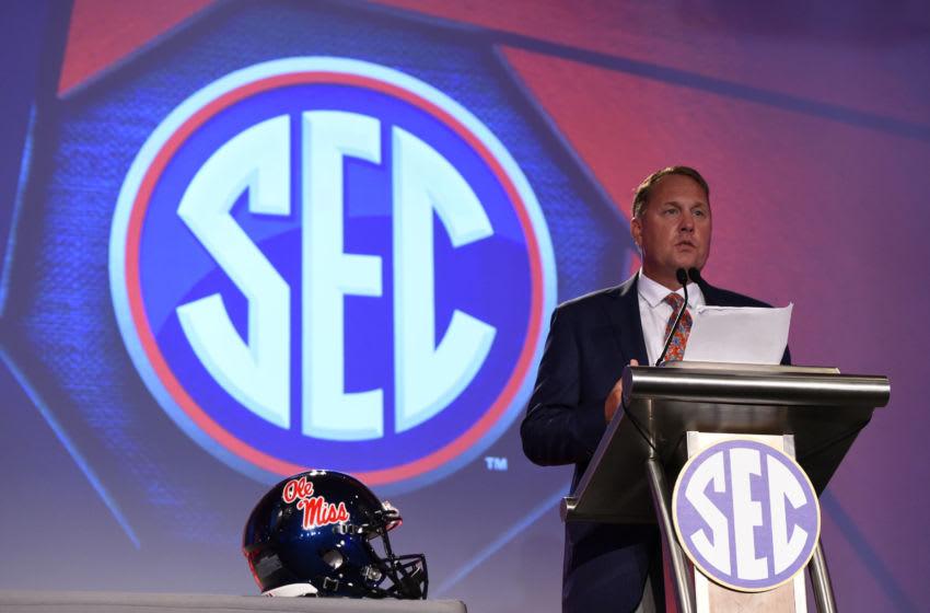 Head coach Hugh Freeze speaks to media during SEC Media Days. Mandatory Credit: Adam Hagy-USA TODAY Sports