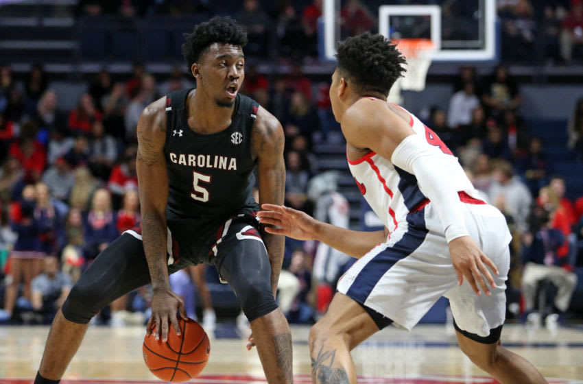 Feb 5, 2020; Oxford, Mississippi, USA; South Carolina Gamecocks guard Jermaine Couisnard (5) dribbles during the second half against the Mississippi Rebels at The Pavilion at Ole Miss. Mandatory Credit: Petre Thomas-USA TODAY Sports
