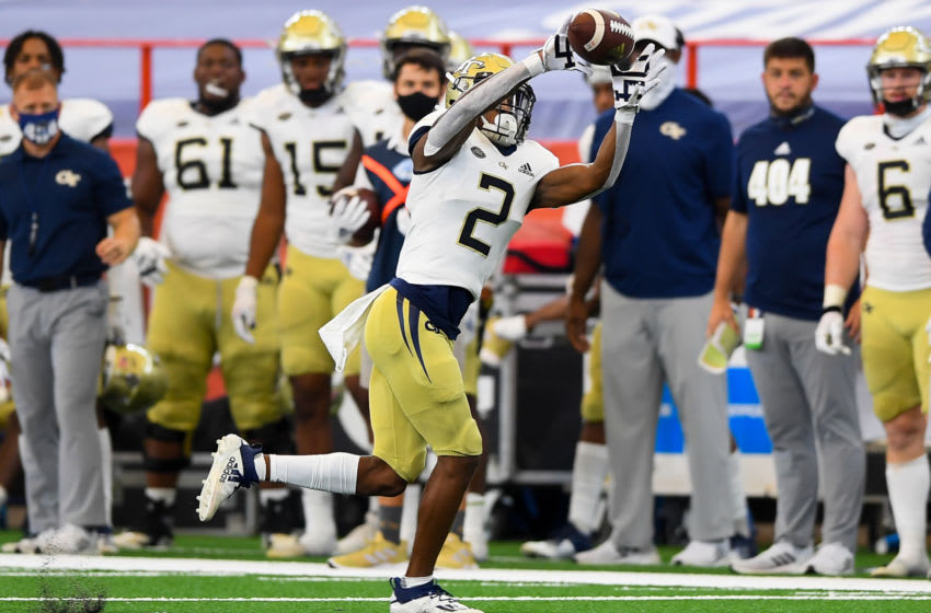 Sep 26, 2020; Syracuse, New York, USA; Georgia Tech Yellow Jackets wide receiver Ahmarean Brown (2) catches a pass against the Syracuse Orange during the second quarter at the Carrier Dome. Mandatory Credit: Rich Barnes-USA TODAY Sports