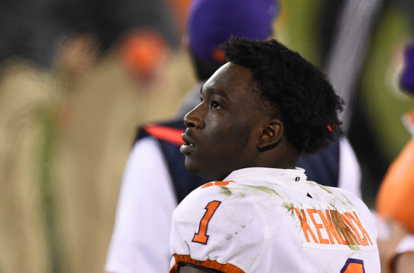 Dec 19, 2020; Charlotte, NC, USA; Clemson Tigers cornerback Derion Kendrick (1) on the sidelines in the fourth quarter at Bank of America Stadium. Mandatory Credit: Bob Donnan-USA TODAY Sports