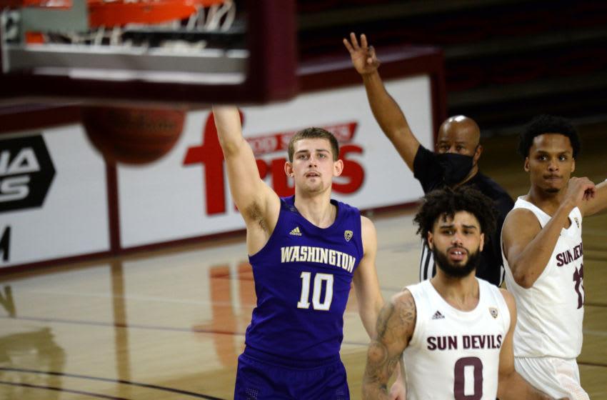 Guard Erik Stevenson (10) makes a three point basket. Mandatory Credit: Joe Camporeale-USA TODAY Sports
