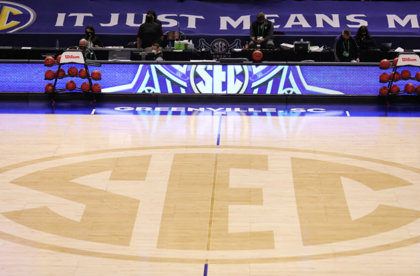 A view of the SEC logo mid-court. Mandatory Credit: Dawson Powers-USA TODAY Sports