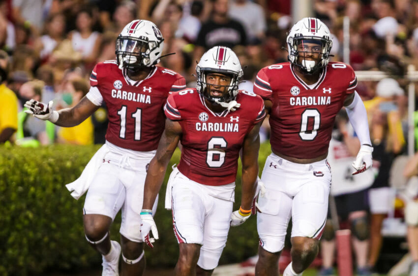Sep 4, 2021; Columbia, South Carolina, USA; South Carolina Gamecocks running back ZaQuandre White (11), South Carolina Gamecocks wide receiver Josh Vann (6) and South Carolina Gamecocks tight end Jaheim Bell (0) celebrate a Vann touchdown against the Eastern Illinois Panthers in the second quarter at Williams-Brice Stadium. Mandatory Credit: Jeff Blake-USA TODAY Sports
